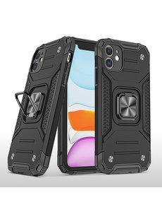Ntech iPhone 11 Pro Max Hoesje - Heavy Duty Armor hoesje Zwart - iPhone 11 Pro Max silicone TPU hybride hoesje Kickstand ringhouder met Magnetisch Auto Mount