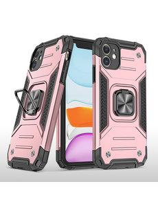 Ntech iPhone 11 Pro Max Hoesje - Heavy Duty Armor hoesje Rose Goud - iPhone 11 Pro Max silicone TPU hybride hoesje Kickstand ringhouder met Magnetisch Auto Mount