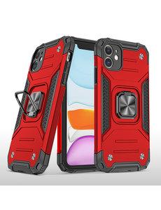 Ntech iPhone 11 Pro Max Hoesje - Heavy Duty Armor hoesje Rood - iPhone 11 Pro Max silicone TPU hybride hoesje Kickstand ringhouder met Magnetisch Auto Mount
