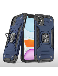 Ntech iPhone 11 Pro Max Hoesje - Heavy Duty Armor hoesje Blauw - iPhone 11 Pro Max silicone TPU hybride hoesje Kickstand ringhouder met Magnetisch Auto Mount