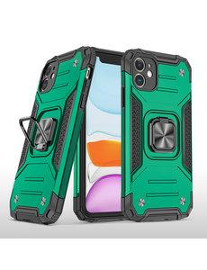 Ntech iPhone 11 Pro Max Hoesje - Heavy Duty Armor hoesje Groen - iPhone 11 Pro Max silicone TPU hybride hoesje Kickstand ringhouder met Magnetisch Auto Mount