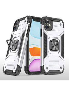 Ntech iPhone 11 Pro Max Hoesje - Heavy Duty Armor hoesje Zilver - iPhone 11 Pro Max silicone TPU hybride hoesje Kickstand ringhouder met Magnetisch Auto Mount