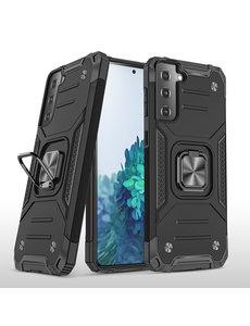 Ntech Samsung S21 Hoesje - Heavy Duty Armor hoesje Zwart - Galaxy S21 silicone TPU hybride hoesje Kickstand ringhouder met Magnetisch Auto Mount