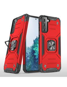 Ntech Samsung S21 Hoesje - Heavy Duty Armor hoesje Rood - Galaxy S21 silicone TPU hybride hoesje Kickstand ringhouder met Magnetisch Auto Mount