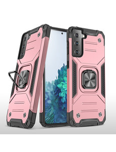 Ntech Samsung S21 Hoesje - Heavy Duty Armor hoesje Rose Goud - Galaxy S21 silicone TPU hybride hoesje Kickstand ringhouder met Magnetisch Auto Mount