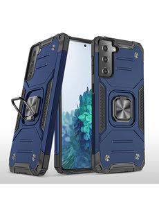 Ntech Samsung S21 Hoesje - Heavy Duty Armor hoesje Blauw - Galaxy S21 silicone TPU hybride hoesje Kickstand ringhouder met Magnetisch Auto Mount