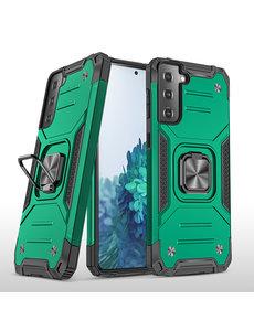 Ntech Samsung S21 Hoesje - Heavy Duty Armor hoesje Groen - Galaxy S21 silicone TPU hybride hoesje Kickstand ringhouder met Magnetisch Auto Mount