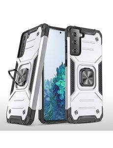 Ntech Samsung S21 Hoesje - Heavy Duty Armor hoesje Zilver - Galaxy S21 silicone TPU hybride hoesje Kickstand ringhouder met Magnetisch Auto Mount