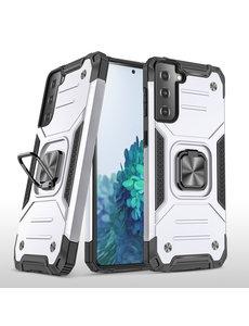 Ntech Samsung S21 Plus Hoesje - Heavy Duty Armor hoesje Zilver - Galaxy S21 Plus silicone TPU hybride hoesje Kickstand ringhouder met Magnetisch Auto Mount