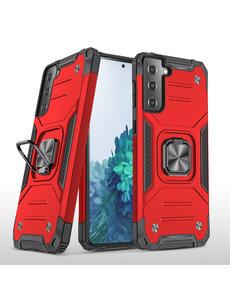 Ntech Samsung S21 Plus Hoesje - Heavy Duty Armor hoesje Rood - Galaxy S21 Plus silicone TPU hybride hoesje Kickstand ringhouder met Magnetisch Auto Mount