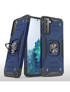 Ntech Samsung S21 Plus Hoesje - Heavy Duty Armor hoesje Blauw - Galaxy S21 Plus silicone TPU hybride hoesje Kickstand ringhouder met Magnetisch Auto Mount