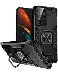 Ntech Samsung S21 Ultra Hoesje - Heavy Duty Armor hoesje Zwart - Galaxy S21 Ultra silicone TPU hybride hoesje Kickstand ringhouder met Magnetisch Auto Mount