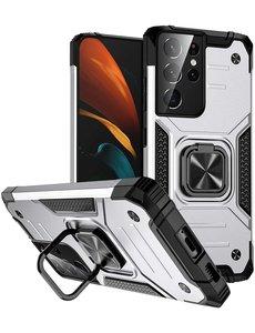 Ntech Samsung S21 Ultra Hoesje - Heavy Duty Armor hoesje Zilver - Galaxy S21 Ultra silicone TPU hybride hoesje Kickstand ringhouder met Magnetisch Auto Mount