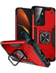 Ntech Samsung S21 Ultra Hoesje - Heavy Duty Armor hoesje Rood - Galaxy S21 Ultra silicone TPU hybride hoesje Kickstand ringhouder met Magnetisch Auto Mount