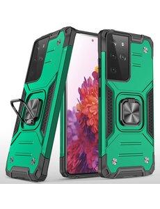 Ntech Samsung S21 Ultra Hoesje - Heavy Duty Armor hoesje Groen - Galaxy S21 Ultra silicone TPU hybride hoesje Kickstand ringhouder met Magnetisch Auto Mount