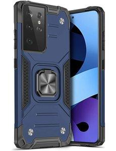 Ntech Samsung S21 Ultra Hoesje - Heavy Duty Armor hoesje Blauw - Galaxy S21 Ultra silicone TPU hybride hoesje Kickstand ringhouder met Magnetisch Auto Mount