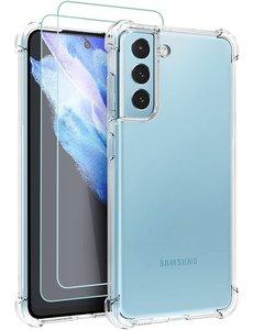 Ntech Samsung S21 FE hoesje shock proof transparant - Galaxy S21 FE Silicone hoesje - Hoesje Samsung Galaxy S21 FE - Samsung S21 FE Screenprotector 2 pack