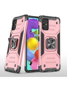 Ntech Samsung A51 Hoesje - Heavy Duty Armor hoesje Rose Goud - Galaxy A51 silicone TPU hybride hoesje Kickstand ringhouder met Magnetisch Auto Mount