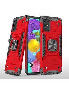 Ntech Samsung A51 Hoesje - Heavy Duty Armor hoesje Rood - Galaxy A51 silicone TPU hybride hoesje Kickstand ringhouder met Magnetisch Auto Mount