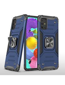 Ntech Samsung A51 Hoesje - Heavy Duty Armor hoesje Blauw - Galaxy A51 silicone TPU hybride hoesje Kickstand ringhouder met Magnetisch Auto Mount