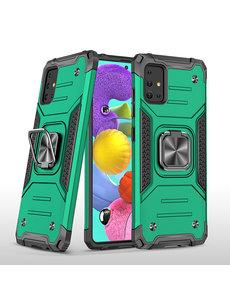 Ntech Samsung A51 Hoesje - Heavy Duty Armor hoesje Groen - Galaxy A51 silicone TPU hybride hoesje Kickstand ringhouder met Magnetisch Auto Mount