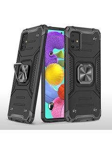 Ntech Samsung A51 Hoesje - Heavy Duty Armor hoesje Zwart - Galaxy A51 silicone TPU hybride hoesje Kickstand ringhouder met Magnetisch Auto Mount