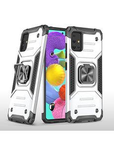 Ntech Samsung A51 Hoesje - Heavy Duty Armor hoesje Zilver - Galaxy A51 silicone TPU hybride hoesje Kickstand ringhouder met Magnetisch Auto Mount