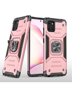 Ntech Samsung S10 Lite 2020 Hoesje - Heavy Duty Armor hoesje Rose Goud - Galaxy S10 Lite / A91 silicone TPU hybride hoesje Kickstand ringhouder met Magnetisch Auto Mount