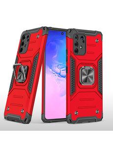 Ntech Samsung S10 Lite 2020 Hoesje - Heavy Duty Armor hoesje Rood - Galaxy S10 Lite / A91 silicone TPU hybride hoesje Kickstand ringhouder met Magnetisch Auto Mount