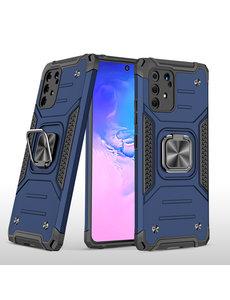 Ntech Samsung S10 Lite 2020 Hoesje - Heavy Duty Armor hoesje Blauw - Galaxy S10 Lite / A91 silicone TPU hybride hoesje Kickstand ringhouder met Magnetisch Auto Mount