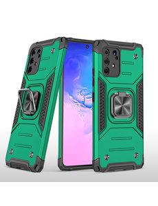 Ntech Samsung S10 Lite 2020 Hoesje - Heavy Duty Armor hoesje Groen - Galaxy S10 Lite / A91 silicone TPU hybride hoesje Kickstand ringhouder met Magnetisch Auto Mount