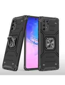 Ntech Samsung S10 Lite 2020 Hoesje - Heavy Duty Armor hoesje Zwart - Galaxy S10 Lite / A91 silicone TPU hybride hoesje Kickstand ringhouder met Magnetisch Auto Mount