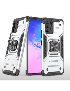 Ntech Samsung S10 Lite 2020 Hoesje - Heavy Duty Armor hoesje Zilver - Galaxy S10 Lite / A91 silicone TPU hybride hoesje Kickstand ringhouder met Magnetisch Auto Mount
