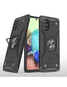 Ntech Samsung A71 Hoesje - Heavy Duty Armor hoesje Zwart - Galaxy A71 4G silicone TPU hybride hoesje Kickstand ringhouder met Magnetisch Auto Mount