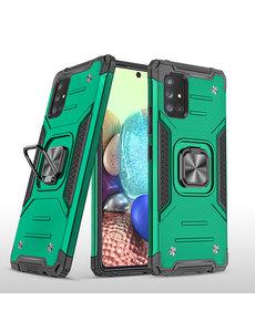 Ntech Samsung A71 Hoesje - Heavy Duty Armor hoesje Groen - Galaxy A71 4G silicone TPU hybride hoesje Kickstand ringhouder met Magnetisch Auto Mount