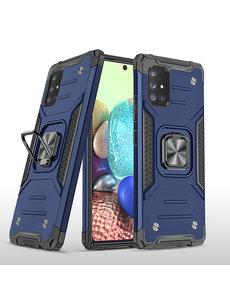 Ntech Samsung A71 Hoesje - Heavy Duty Armor hoesje Blauw - Galaxy A71 4G silicone TPU hybride hoesje Kickstand ringhouder met Magnetisch Auto Mount