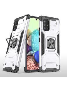 Ntech Samsung A71 Hoesje - Heavy Duty Armor hoesje Zilver - Galaxy A71 4G silicone TPU hybride hoesje Kickstand ringhouder met Magnetisch Auto Mount
