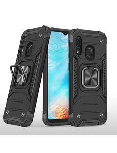 Ntech Samsung A01 Core Hoesje - Heavy Duty Armor hoesje Zwart - Galaxy A01 Core silicone TPU hybride hoesje Kickstand ringhouder met Magnetisch Auto Mount