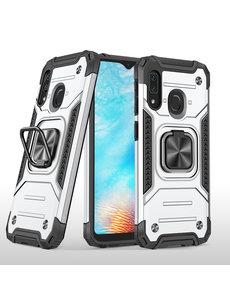 Ntech Samsung A01 Core Hoesje - Heavy Duty Armor hoesje Zilver - Galaxy A01 Core silicone TPU hybride hoesje Kickstand ringhouder met Magnetisch Auto Mount