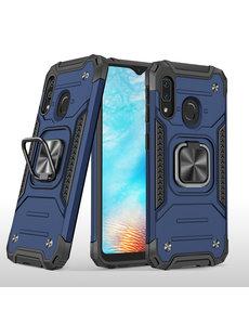 Ntech Samsung A01 Core Hoesje - Heavy Duty Armor hoesje Blauw - Galaxy A01 Core silicone TPU hybride hoesje Kickstand ringhouder met Magnetisch Auto Mount