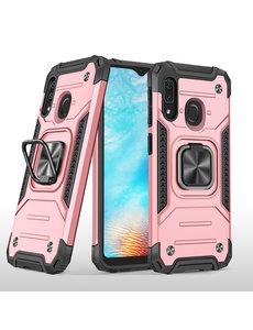 Ntech Samsung A01 Core Hoesje - Heavy Duty Armor hoesje Rose Goud - Galaxy A01 Core silicone TPU hybride hoesje Kickstand ringhouder met Magnetisch Auto Mount