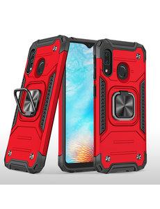 Ntech Samsung A01 Core Hoesje - Heavy Duty Armor hoesje Rood - Galaxy A01 Core silicone TPU hybride hoesje Kickstand ringhouder met Magnetisch Auto Mount