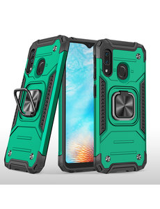 Ntech Samsung A01 Core Hoesje - Heavy Duty Armor hoesje Groen - Galaxy A01 Core silicone TPU hybride hoesje Kickstand ringhouder met Magnetisch Auto Mount
