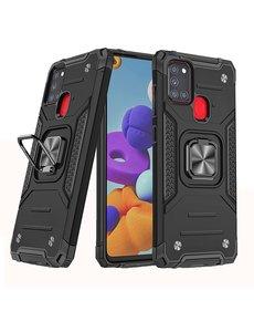 Ntech Samsung A21S Hoesje - Heavy Duty Armor hoesje Zwart - Galaxy A21s silicone TPU hybride hoesje Kickstand ringhouder met Magnetisch Auto Mount