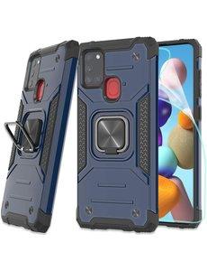 Ntech Samsung A21S Hoesje - Heavy Duty Armor hoesje Blauw - Galaxy A21s silicone TPU hybride hoesje Kickstand ringhouder met Magnetisch Auto Mount