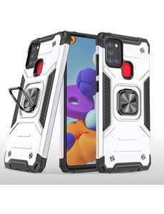 Ntech Samsung A21S Hoesje - Heavy Duty Armor hoesje Zilver - Galaxy A21s silicone TPU hybride hoesje Kickstand ringhouder met Magnetisch Auto Mount