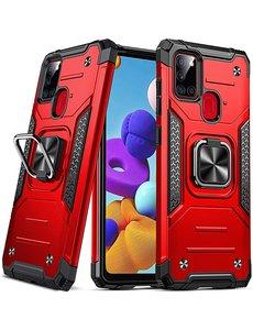 Ntech Samsung A21S Hoesje - Heavy Duty Armor hoesje Rood - Galaxy A21s silicone TPU hybride hoesje Kickstand ringhouder met Magnetisch Auto Mount