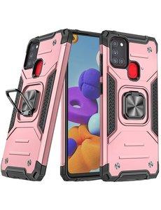 Ntech Samsung A21S Hoesje - Heavy Duty Armor hoesje Rose Goud - Galaxy A21s silicone TPU hybride hoesje Kickstand ringhouder met Magnetisch Auto Mount