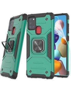 Ntech Samsung A21S Hoesje - Heavy Duty Armor hoesje Groen - Galaxy A21s silicone TPU hybride hoesje Kickstand ringhouder met Magnetisch Auto Mount