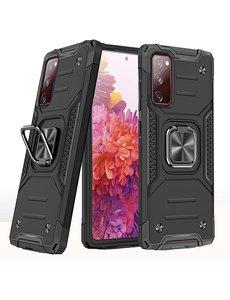 Ntech Samsung S20 FE Hoesje - Heavy Duty Armor hoesje Zwart - Galaxy S20 FE silicone TPU hybride hoesje Kickstand ringhouder met Magnetisch Auto Mount